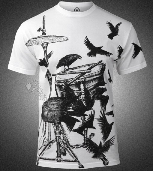 koszulka DRUMS & CROWS biała