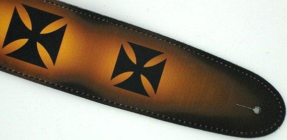 pas do gitary PERRI'S - AIRBRUSHED CHOPPER CROSS skórzany, 63mm