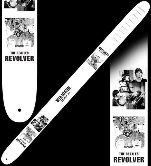 pas do gitary THE BEATLES - WHITE skórzany, 63mm