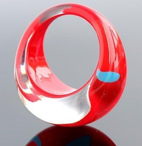 pierścień HEARTS czerwony