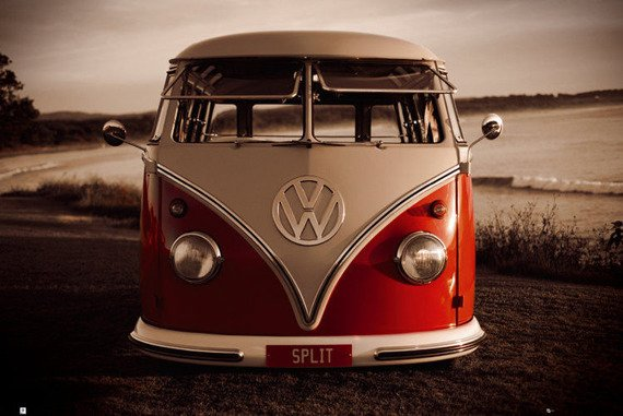 plakat VW - RED KOMBI