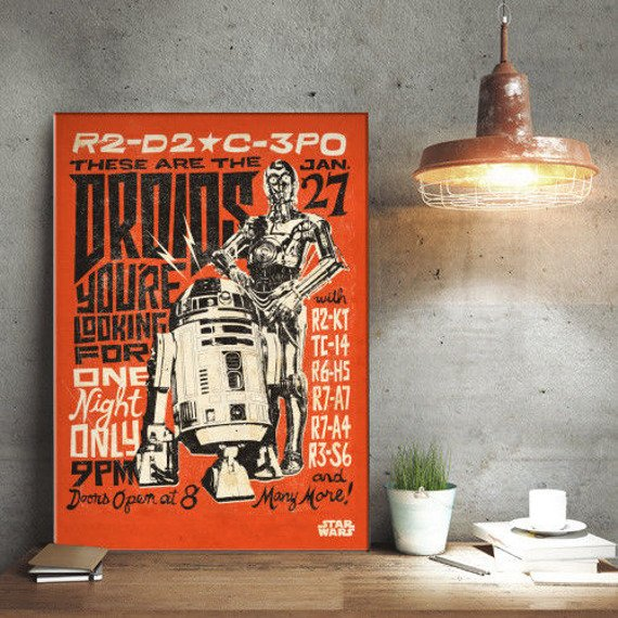 plakat z metalu STAR WARS - DROIDS