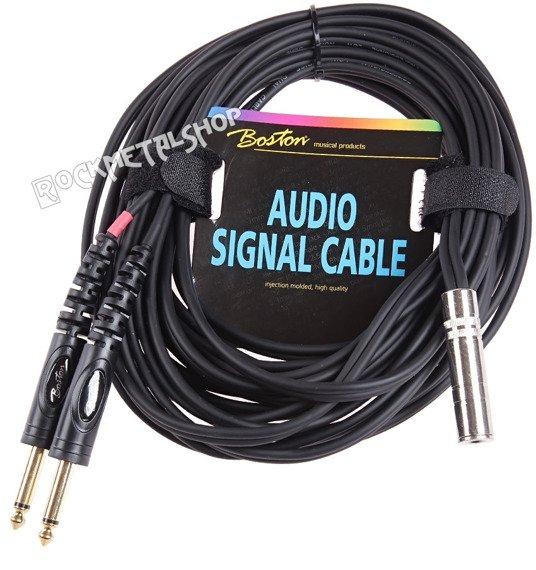 przewód audio BOSTON: 2 x JACK MONO duży (6.3mm) - GNIAZDO JACK STEREO duży (6.3mm) / 6m