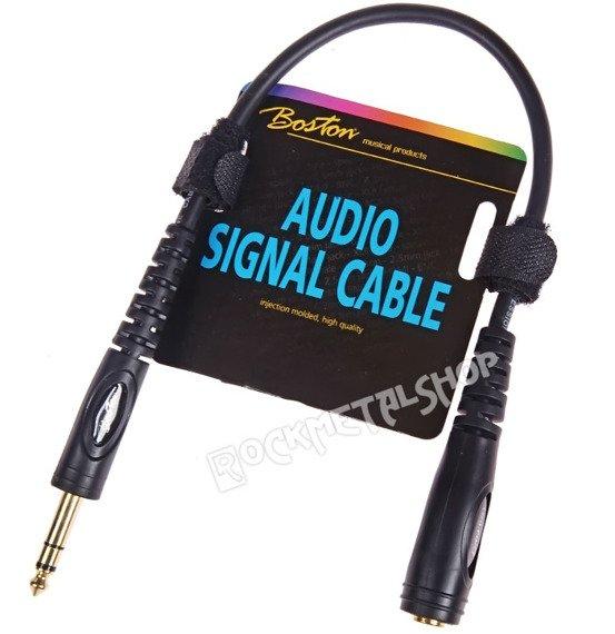 przewód audio BOSTON: JACK STEREO duży żeński -  JACK STEREO duży męski (6.3mm) / 0,30m