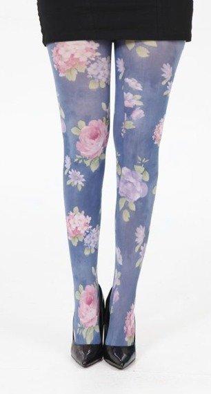 rajstopy Hibiscus Printed Tights - Blue