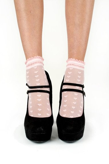 skarpety Sheer Love Heart Ankle Sock - Black + Pink 4-pack