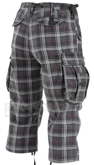 spodnie bojówki INDUSTRY VINTAGE 3/4 - DARKGREY/PURPLE GRID