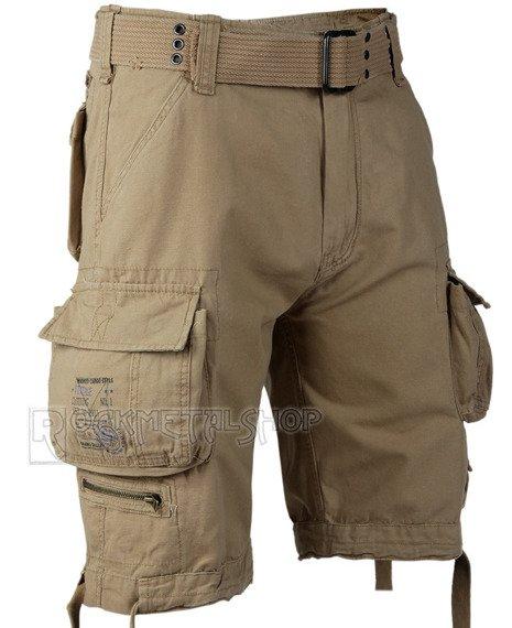spodnie bojówki krótkie SAVAGE VINTAGE SHORTS - BEIGE