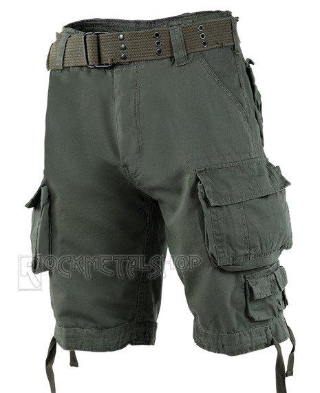 spodnie bojówki krótkie SAVAGE VINTAGE SHORTS - OLIV