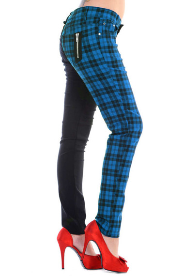 spodnie damskie BANNED - BLACK/BLUE CHECK