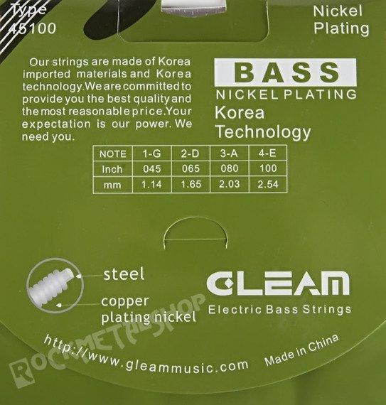 struny do gitary basowej GLEAM Nickel Plating /045-100/