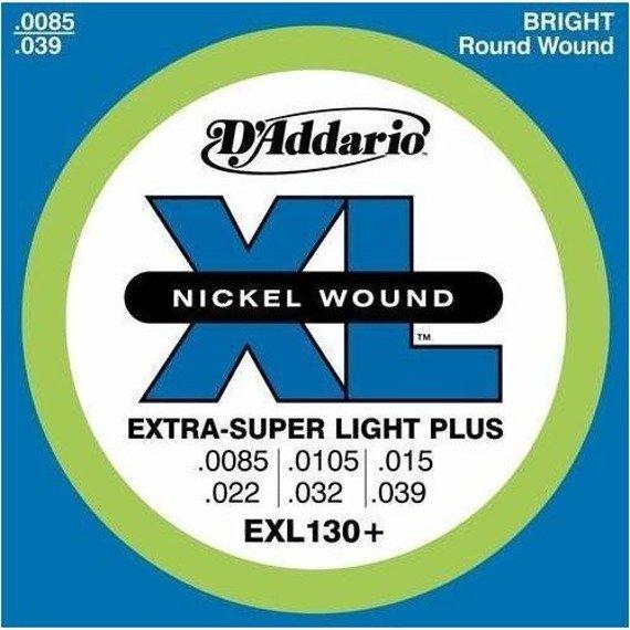 struny do gitary elektrycznej D'ADDARIO EXT.SUPER LIGHT PLUS - EXL130+ /0085-039/