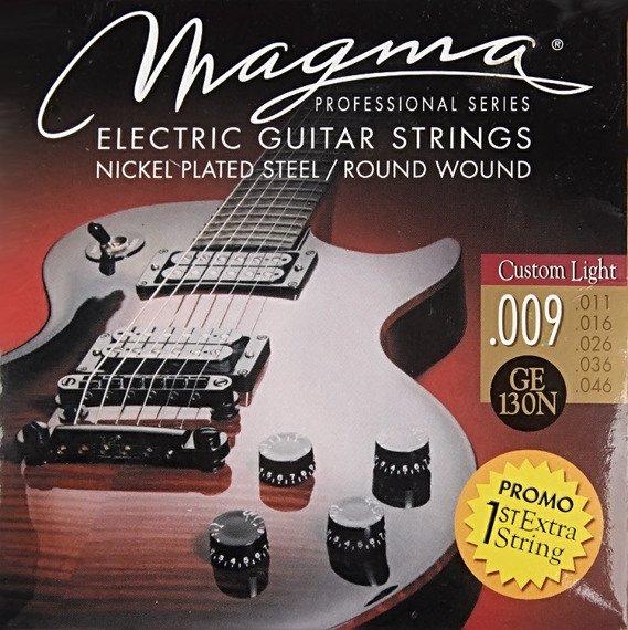 struny do gitary elektrycznej MAGMA GE130N Nickel Plated / Custom Light /009-046/