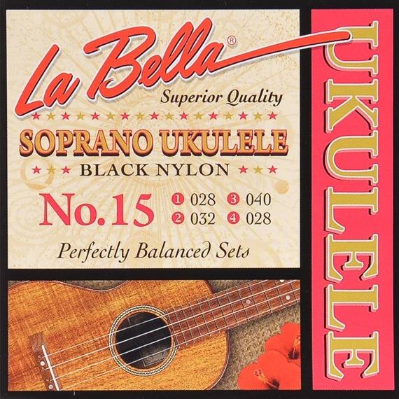 struny do ukulele sopranowego LA BELLA No.15 Black Nylon