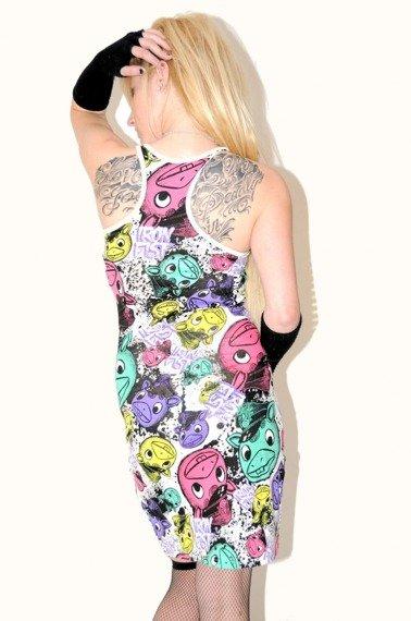 sukienka IRON FIST - HORROR POP RACER BACK   (WHITE)