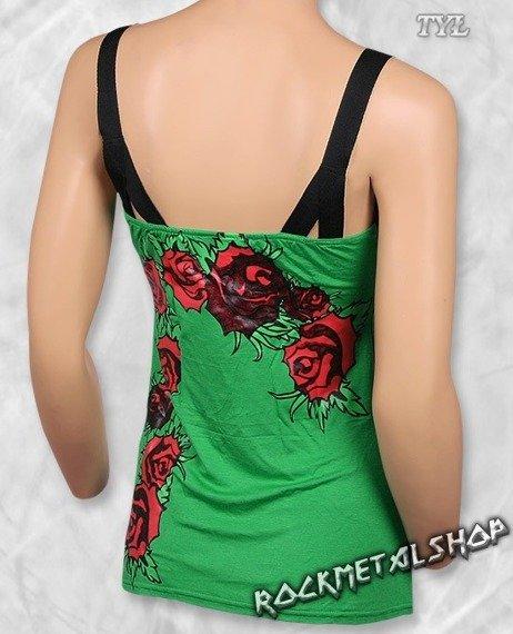 top damski SKULL & ROSES zielony