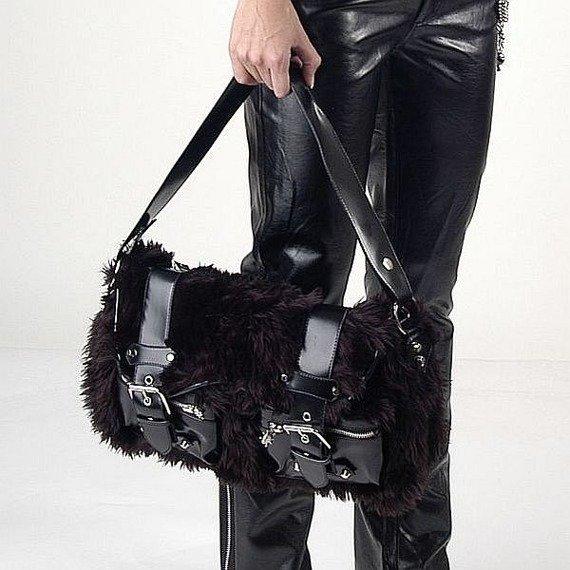 torba na ramię BLACK FUZZY PURSE